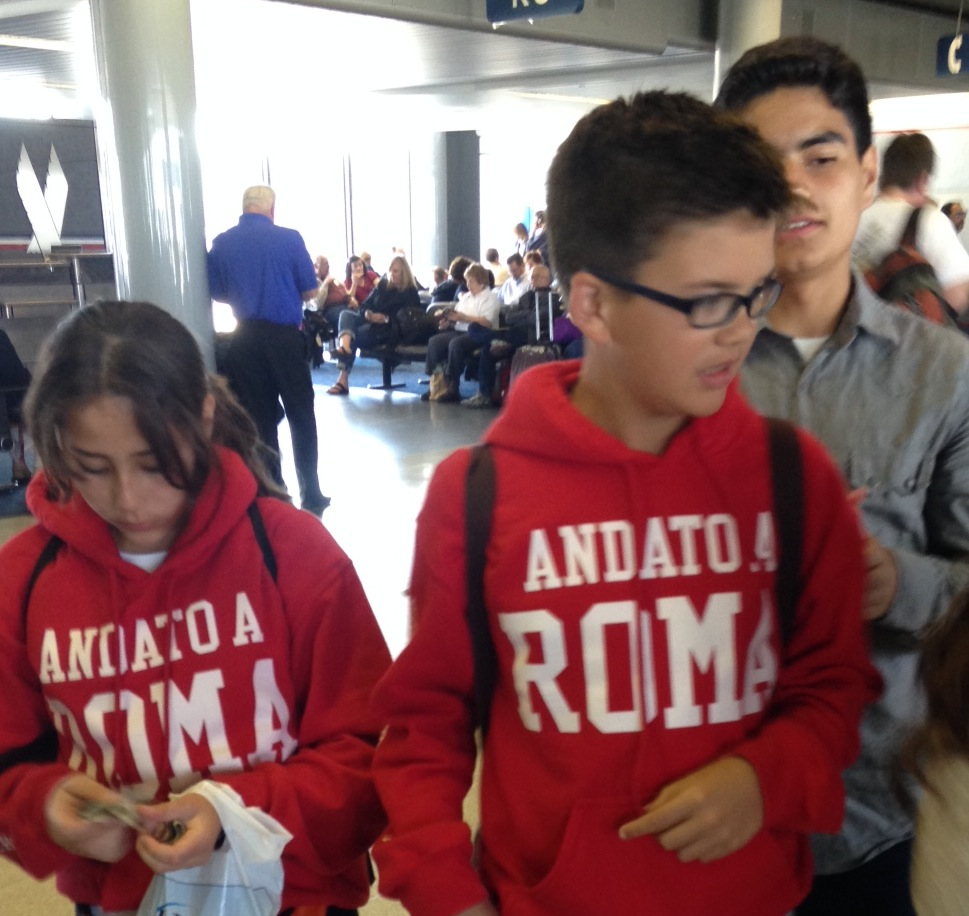 Young people on their way to Rome for the canonizations.